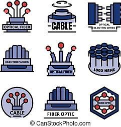 繊維, ベクトル, 光学, ロゴ, 平ら