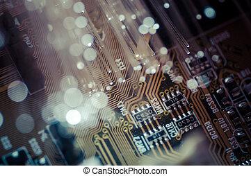繊維, 繊維, ケーブル, 目である, optics., concept., 接続, telecomunications