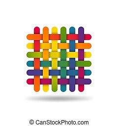 織品, 符號, 被給上色, 交織, 彩虹, 紡織品, threads.