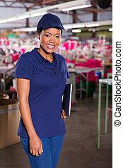 織物, スーパーバイザー, 工場, メスのアフリカ人