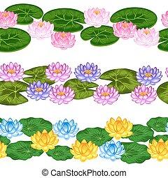 織物, 切り抜き, 作られた, 自然, 背景, 背景, ロータス, 花, 包むこと, 使用, seamless, ペーパー, mask., 容易である, なしで, ボーダー, leaves.