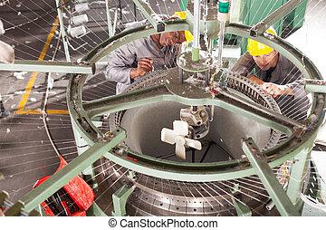 織物, 技術者, 工場, 修理