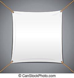 織物, 白, ベクトル, 旗