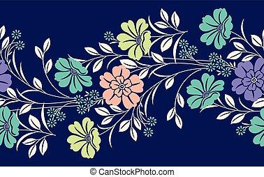 織物, 花, ボーダー, seamless