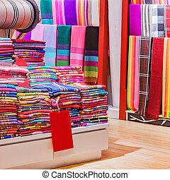 織物, 衣服, shop., 棚