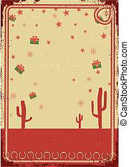 繩子, 正文, 卡片, 聖誕節, 牛仔, 海報, 框架, 葡萄酒