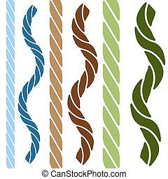 繩子, 直接, 波狀, 集合