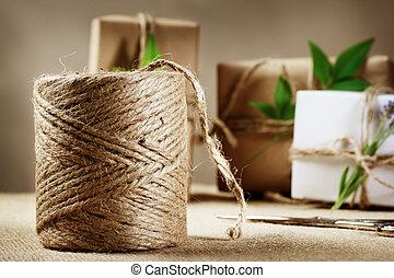 繩子, 箱子, 大麻, 禮物, 線軸
