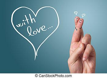 繪, 手指, 笑臉符, 情人節