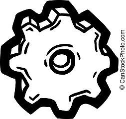 繪, 輪子, 齒輪