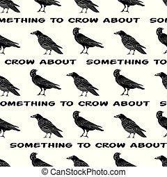 繰り返し, テキスト, seamless, からす, ベクトル, 黒, パターン, 白, ワタリガラス, 鳥