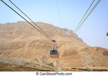 纜車, 去, 到, 著名, masada, 死海, 區域