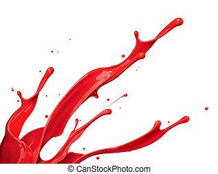 红的涂料, 飞溅