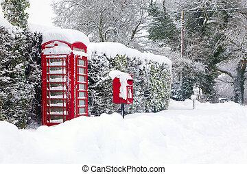 红的电话, 同时,, 邮局拳击, 在中, the, 雪