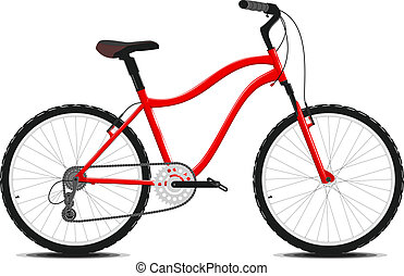 红的自行车, 在上, a, 白色, 背景。, vector.