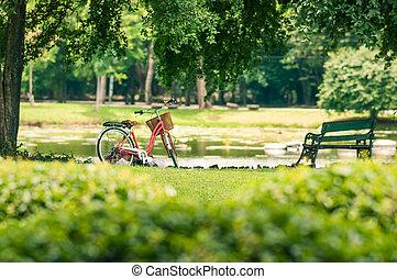 红的自行车, 在公园中