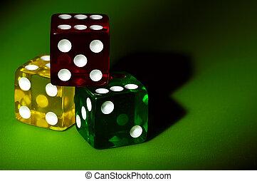 红黄色, 同时,, 绿色, 骰子