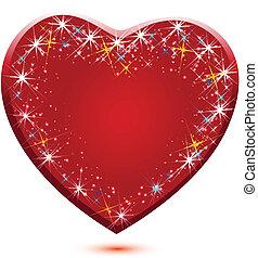 红, 发光闪烁, 心, 标识语, 矢量
