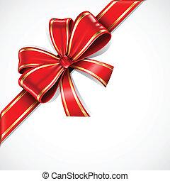 红, 同时,, 金子, 矢量, 礼物弓, 同时,, 带子