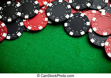 红, 同时,, 黑色, 赌博芯片