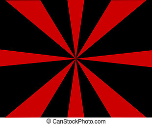 红, 同时,, 黑色, sunburst, 背景