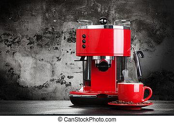 红, 咖啡机器