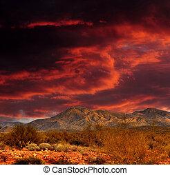 红, 天空, sonora 沙漠, 山