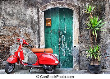 红, 小摩托车