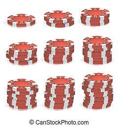 红, 扑克牌芯片, 堆, vector., 3d, 现实, set., 塑料, 扑克牌, 赌博芯片, 签署, 隔离, 在怀特上, 背景。, 娱乐场, jackpot, 成功, illustration.