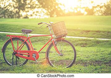 红, 日本, 风格, 第一流, 自行车, 在, the, 公园