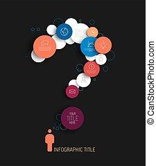 红, 样板, 黑暗, 摘要, 环绕, 问题, infographic, -, 标记, 蓝色, 矢量