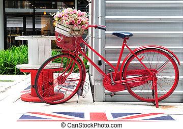 红, 涂描, 自行车, 带, a, 水桶, 在中, 色彩丰富的花