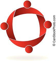 红, 队, 人们, 团体, 矢量