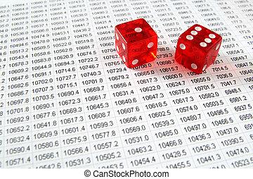 红, 骰子, 在上, a, spreadsheet.