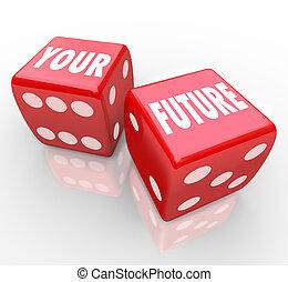 红, 骰子, -, 赌博, 你, 未来