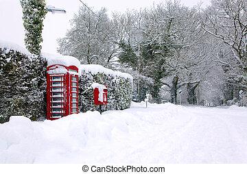 红, phonebox, 在中, the, 雪