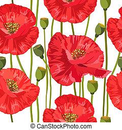 红, seamless, 结构, 罂粟