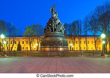 纪念碑, 对于, the, 1000th, 周年纪念日, 在中, russia., veliky, novgorod