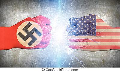 纳粹, vs, 德国, 美国