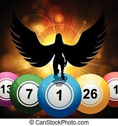 纸牌的赌博, 球, 同时,, 幸运, 天使, 在上, 星爆发, 金子, 背景