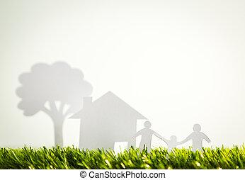纸, 切割, 在中, 家庭, 带, 房子, 同时,, 树, 在上, 新鲜, 春天, 绿色的草