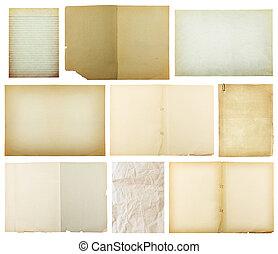 纸, 剪下的资料, 老, 背景, 隔离, 放置, pa, 白色