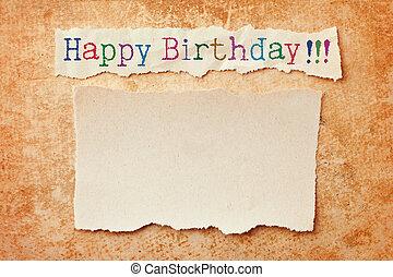 纸, 带, 撕裂, 边缘, 在上, grunge, 纸, 背景。, 生日快乐, 卡片