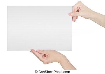 纸, 握住, 清洁的手