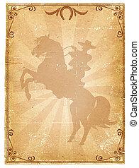 纸, 骑术表演, 老, 背景, .retro, 牛仔, 海报