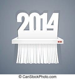 纸, 2014, 是, 切割, 入, 碎片, 在上, 灰色