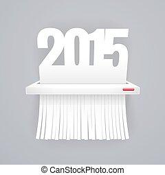 纸, 2015, 是, 切割, 入, 碎片, 在上, 灰色