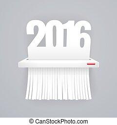 纸, 2016, 是, 切割, 入, 碎片, 在上, 灰色