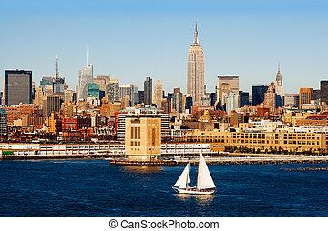 纽约城市, 同时,, the, hudson 河