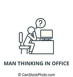 线性, 办公室, 思想, 符号, 签署, 矢量, 图标, 线, 人, 概念, outline